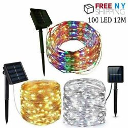 Solar 100LED String Lights Copper Wire Waterproof Outdoor Fairy Decor Garland