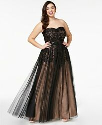 City Chic Trendy Plus Size Strapless Tulle Overlay Ball Gown Small 16 $59.49