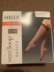 8 Pairs West Loop Basics Sheer Knee High Plus Size Off Black $14.99