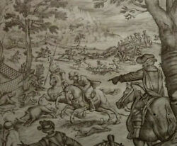 STUNNING 18TH CENTURY OLD MASTER ITALIAN ANTIQUE INK DRAWING BOAR HUNTING SCENE. GBP 720.00