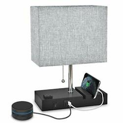 Bedside Table Lamp 3 Phone Stand Modern Lamp with Dual USB Port AC Outlet New $44.34