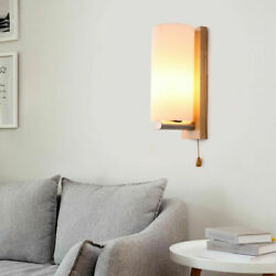Wooden Glass Wall Wall Lamp Decor Bedside Bedroom Sconces amp;Pull Switch 85 265v $39.00