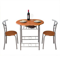 3Piece Dining Table Sets Glass Metal 2 PVC Leather Chairs Kitchen Room Furniture $90.56