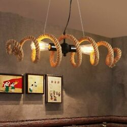 Households Hanging Lamps Nordic Creativity Hand Woven Hemp Rope Ceiling Lamp New $145.99
