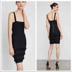 NEW BCBG Bodycon Fringe Little Black Dress XS $99.00