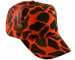 Nayt Trucker Mesh Caps Plain Baseball Camouflage Hat Orange Camo
