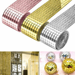 1 Roll Mirror Glass Mosaic Tiles Self Adhesive Wall Sticker Decal Home Decor $8.99