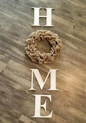 Burlap Wreath amp; Distressed White Wood Home Letters Wall Farmhouse Rustic Decor $44.99