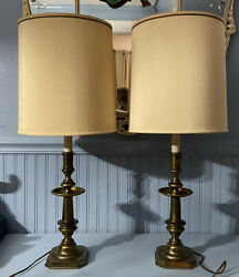 Vtg STIFFEL Lamps amp; Drum Shades Brass Candlestick Style Mid Century 1960s Pair $175.00