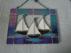 STAINED GLASS HANGING SUNCATCHER WITH SHIPS $19.99