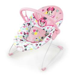 Baby Bouncer Chair Vibrating Seat Removable Toy Bar Infant Minnie Mouse Pink $66.18