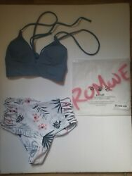 New Romwe bikini 2 peice high wasted floral solid XS blue top white pink bottom $13.00