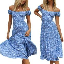 Womens Boho Summer Floral Off Shoulder Maxi Dress Holiday Beach Long Sun Dresses $13.20