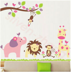 Decorate kids cartoon animals wall tree stickers removable room window decals $11.39