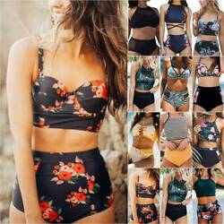 High Waist Bikinis Women Swimsuit Floral Beach Swimwear Tankini Set Bathing Suit $12.34