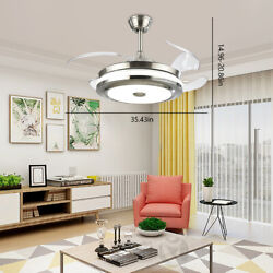 Modern 36quot; Invisible Ceiling Fans with 3 Color LED Light Fan Chandelierremote $106.99