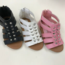 Girls Toddler Zipper Gladiator Plate Sandals Shoes size 5 10 $10.99