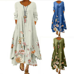Womens Boho Floral Long Sleeve Maxi Dress Casual Party Beach Holiday Sundress US $20.23