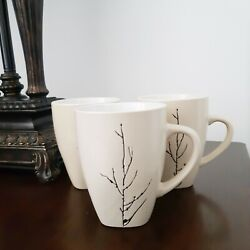 Set of 3 Painted Tree Branches Cream Colored Mugs Home Dining Modern Simple C $19.99