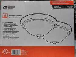 Commercial Electric 13 in. 2 Light Brushed Nickel Flush Mount with Frosted Glass