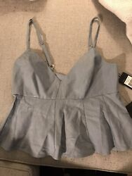 New Super Cute Baby Doll Blue BCBG Crop Top NWT Size Small S