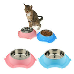 Plastic Pet Bowls Cats Dogs Food Water Bowls Feeder Stainless Steel Bowls $18.35