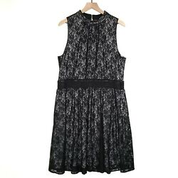 Modcloth Fervour Lace Mock Neck Dress 1X Black Sleeveless Plus Cocktail $44.99