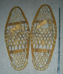 Vintage 31 x 10 Native Made Bear Paw SNOWSHOES Beautiful Handmade Wood amp; Rawhide $299.00