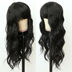 Long Black Natural Straight Synthetic Hair No Lace Wig Full Bangs Heat Resistant $17.10
