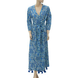 Rhode Lena Wrap Maxi Dress Tassel Floral Printed Cotton Voile Blue M New 205333 $259.94