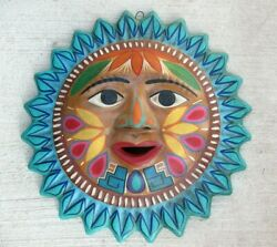 Mexican Painted Clay Terracotta Art Pottery Hanging Wall Sun Turquoise Large 16quot; $89.00