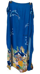Cleopatra Resort Wear Sarong Blue Pareo Delphine Skirt Beach Cover Up Wrap EUC $20.00