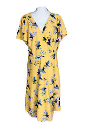 eShakti Women size 2X 20W True Wrap Dress dove Floral Plus novelty print navy $44.99
