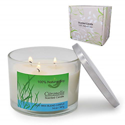 Large Citronella Candles Outdoor and Indoor 3 Wick Candles 14 Ounce 75 80 Hours $17.74
