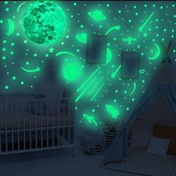 Glow in The Dark Wall Decals Glowing Spacecraft Rocket Stars Stickers for $19.73