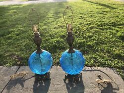 PAIR OF VINTAGE MID CENTURY LARGE BLUE GLASS LAMPS EMBOSSED GRAPES LEAVES WORKS $600.00