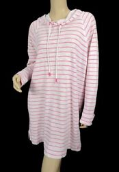 Southern Tide Pink Stripe Ocean Tunic Hooded Beach Coverup Size L Cotton $24.99