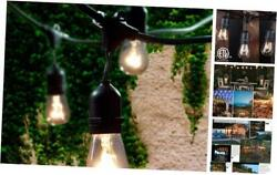 Commercial Grade Outdoor String Lights with 15 Hanging Sockets 48 Ft Black