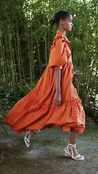100% Authentic ZARA Sun Orange Eyelet Embroidered Ruffle Dress Size: S $55.00