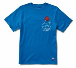 Vans Off The Wall Boys Kids Youth X Marvel Spider Man Pocket Tee T Shirt Large $25.00