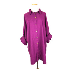 Nature by Physical Attraction Button Front Lagenlook Tunic Burgundy Plus Size 1X $21.24
