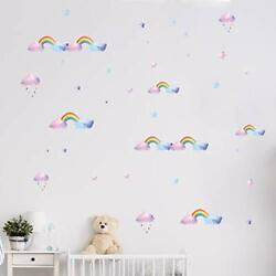 Rainbow Wall Decals for Girls Room Nursery Wall Art Stickers Watercolor $5.25