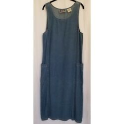 Modest Vintage Chambray Denim Jumper Maxi Jean Blue Pockets Long Size Small $50.00