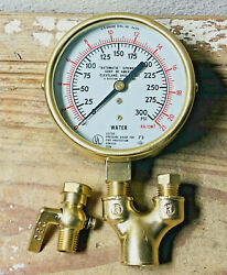 Dated 1973: LARGE 4quot; Vintage Brass WATER Pressure Gauge Antique With Fittings $49.99