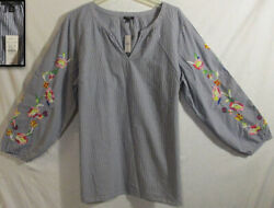 NWT TALBOTS WHITE BLUE CHAMBRAY STRIPE EMBROIDERED FLORAL SLEEVE SHIRT TUNIC 2X $39.95