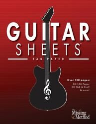 Guitar Sheets Tab Paper: Over 100 Pages Of Blank Tablature Paper Tab Sta... $12.54