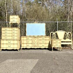 Antique French Provincial Off White Six Piece Bedroom Furniture Set Queen $849.00