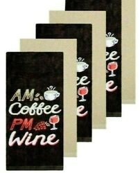 6 Wine Coffee Kitchen Towels Brown Tan Dish Towel Embroidered Cotton $16.99