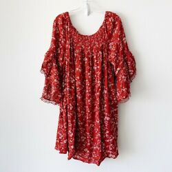 New Women#x27;s Plus Size Red Floral Dress Sizes 1X 2X 3X NWT $20.00