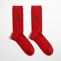 Novelty Socks For Women Embroidery Cherry Red Colour Fun Gift Cotton Socks GBP 4.90